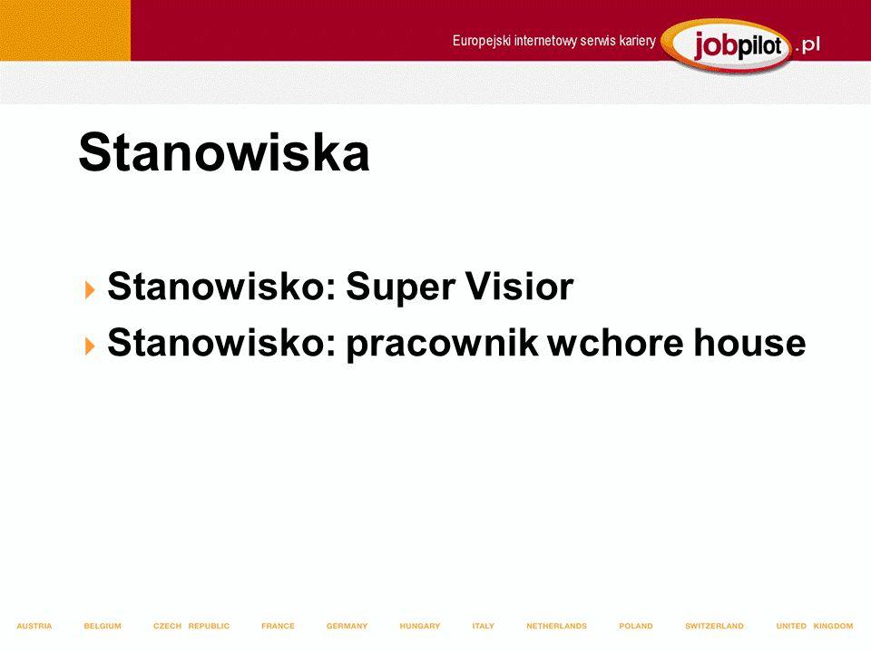 Stanowiska Stanowisko: Super Visior Stanowisko: pracownik wchore house