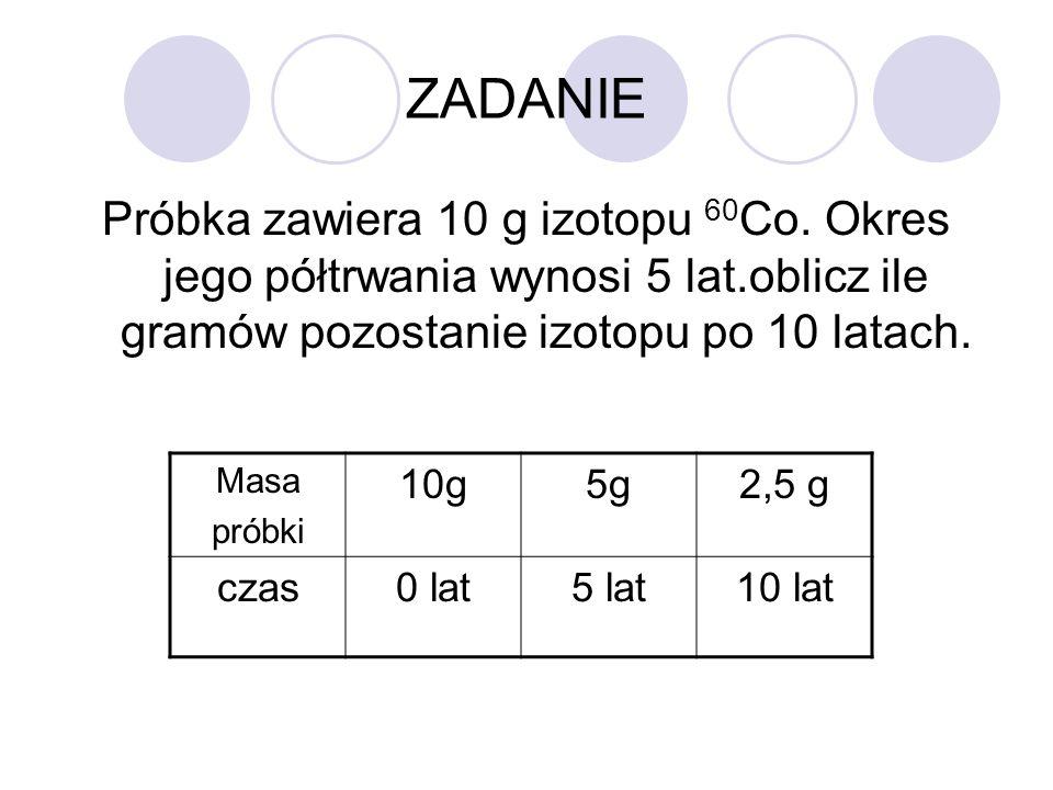 ZADANIE Próbka zawiera 10 g izotopu 60Co. Okres jego półtrwania wynosi 5 lat.oblicz ile gramów pozostanie izotopu po 10 latach.