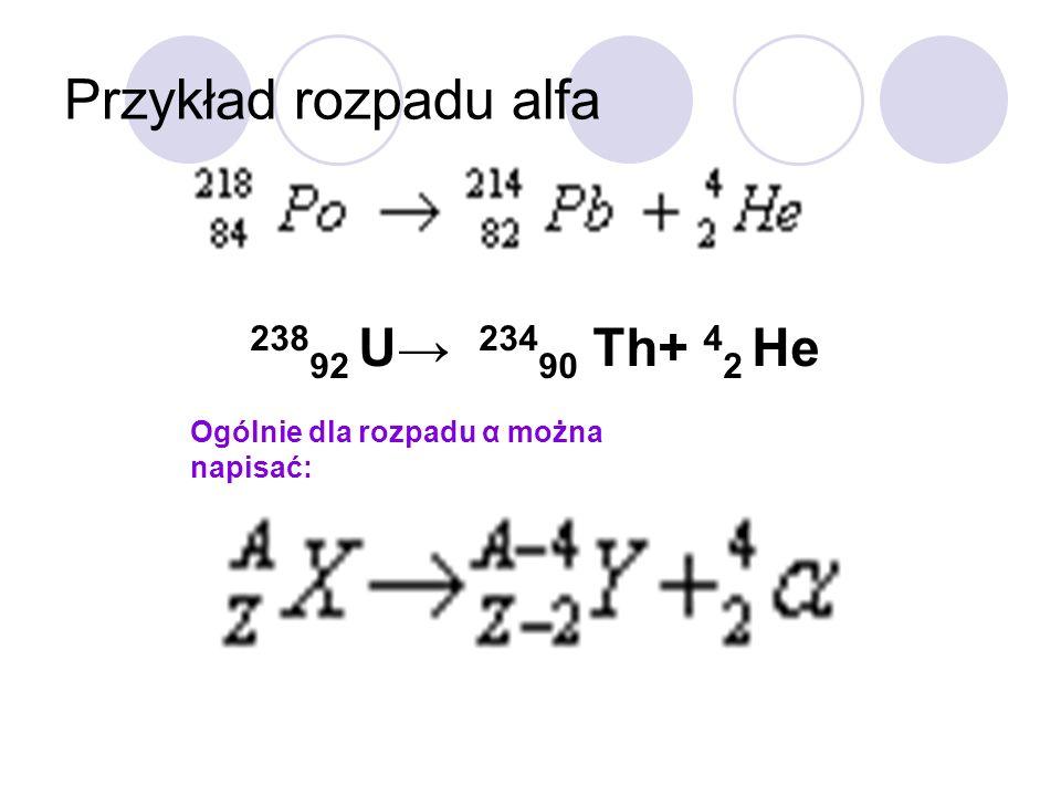 Przykład rozpadu alfa 23892 U→ 23490 Th+ 42 He