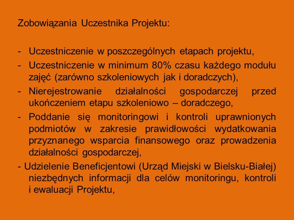 Zobowiązania Uczestnika Projektu: