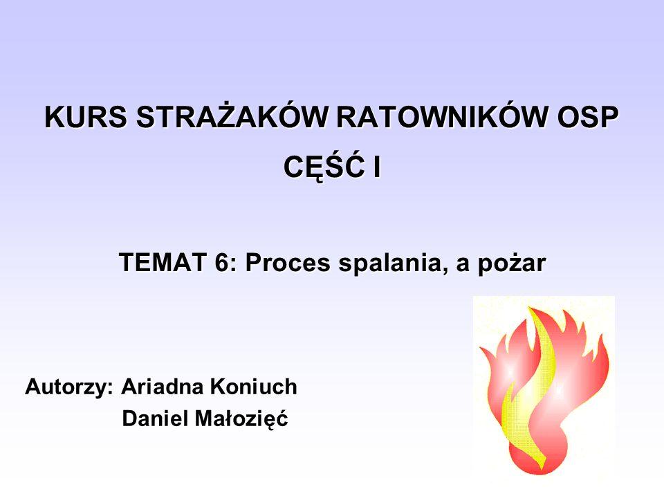 KURS STRAŻAKÓW RATOWNIKÓW OSP CĘŚĆ I TEMAT 6: Proces spalania, a pożar