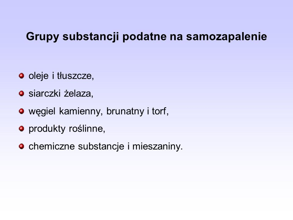 Grupy substancji podatne na samozapalenie