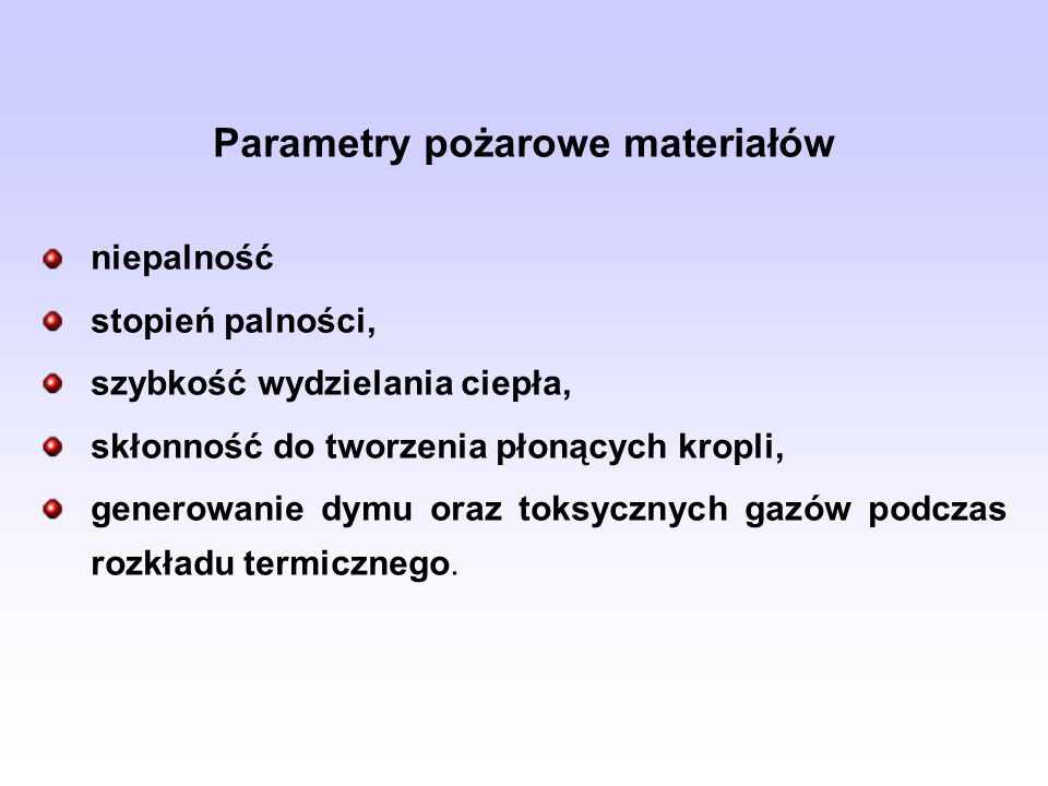 Parametry pożarowe materiałów