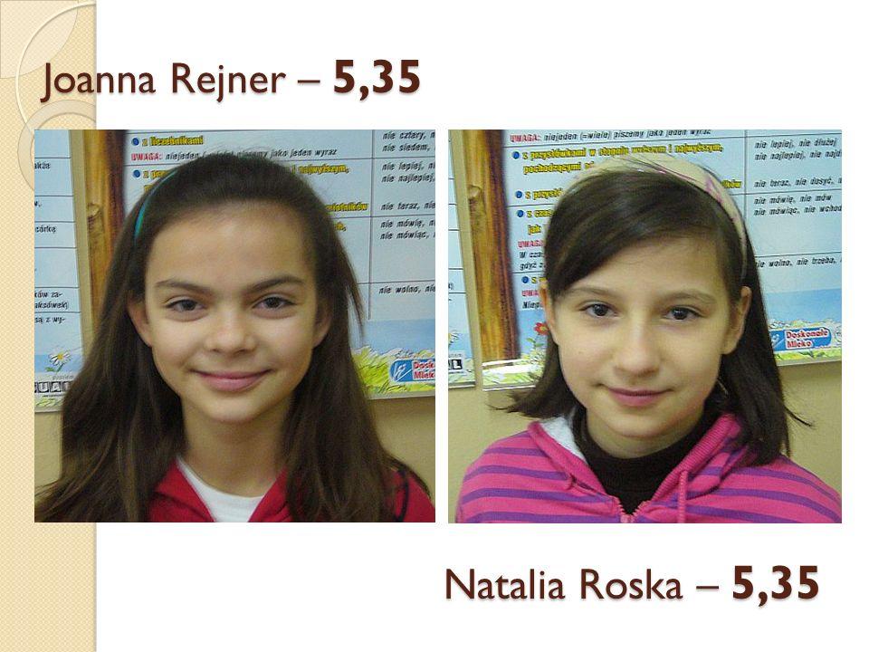 Joanna Rejner – 5,35 Natalia Roska – 5,35