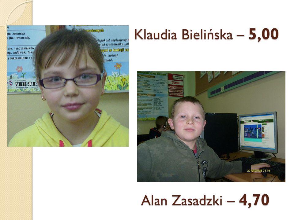 Klaudia Bielińska – 5,00 Alan Zasadzki – 4,70