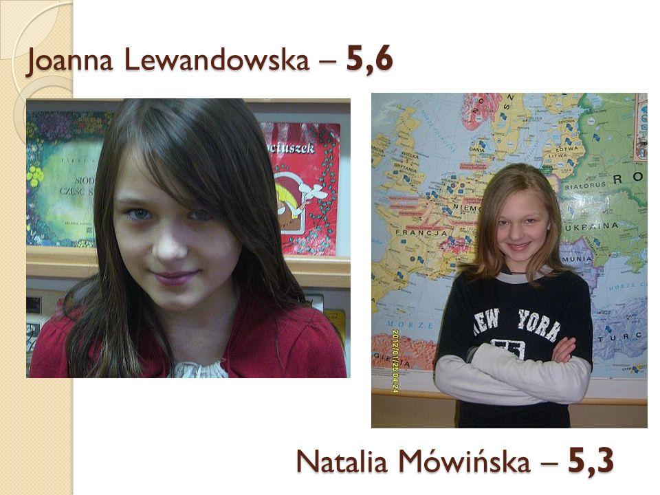 Joanna Lewandowska – 5,6 Natalia Mówińska – 5,3