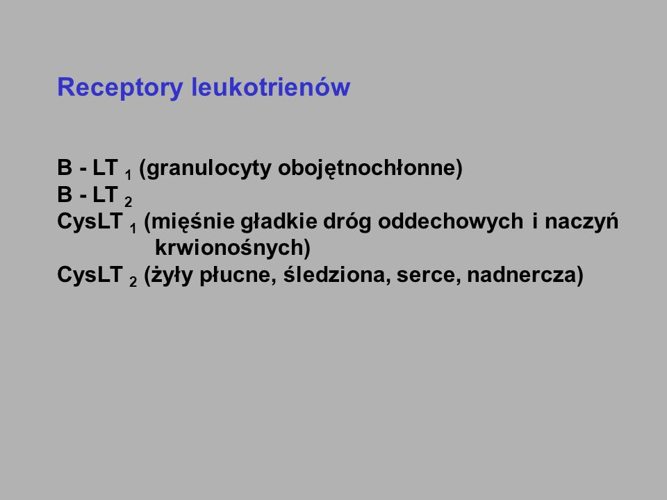 Receptory leukotrienów