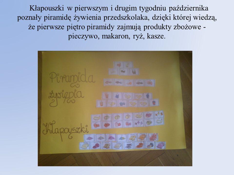 Kłapouszki w pierwszym i drugim tygodniu października poznały piramidę żywienia przedszkolaka, dzięki której wiedzą, że pierwsze piętro piramidy zajmują produkty zbożowe - pieczywo, makaron, ryż, kasze.