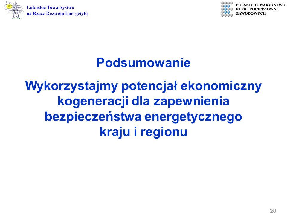 Podsumowanie Wykorzystajmy potencjał ekonomiczny kogeneracji dla zapewnienia bezpieczeństwa energetycznego kraju i regionu.