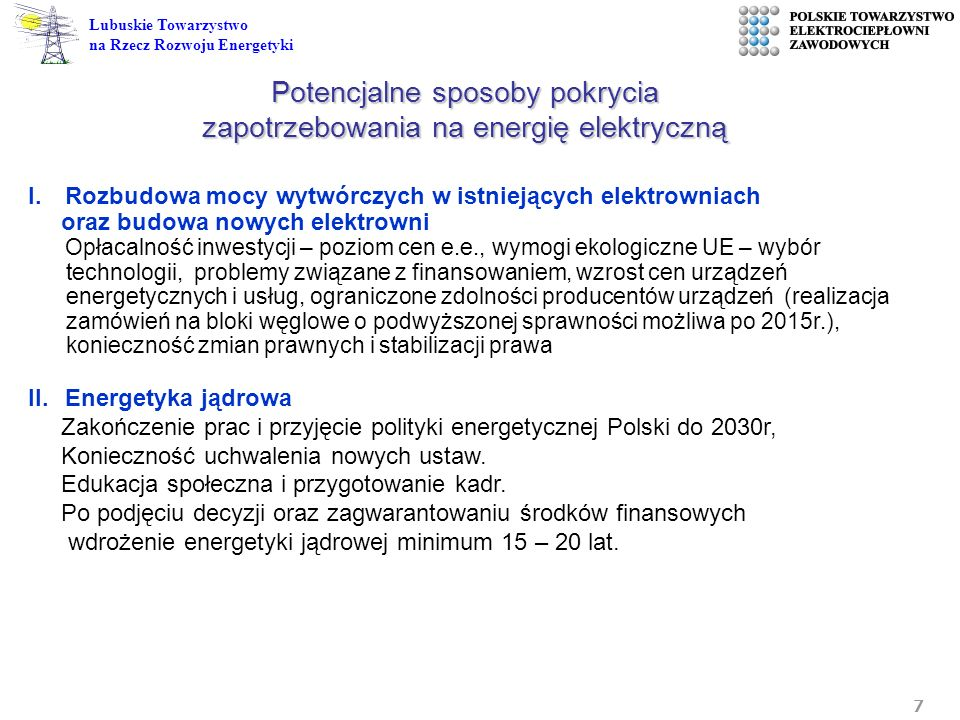 Potencjalne sposoby pokrycia zapotrzebowania na energię elektryczną