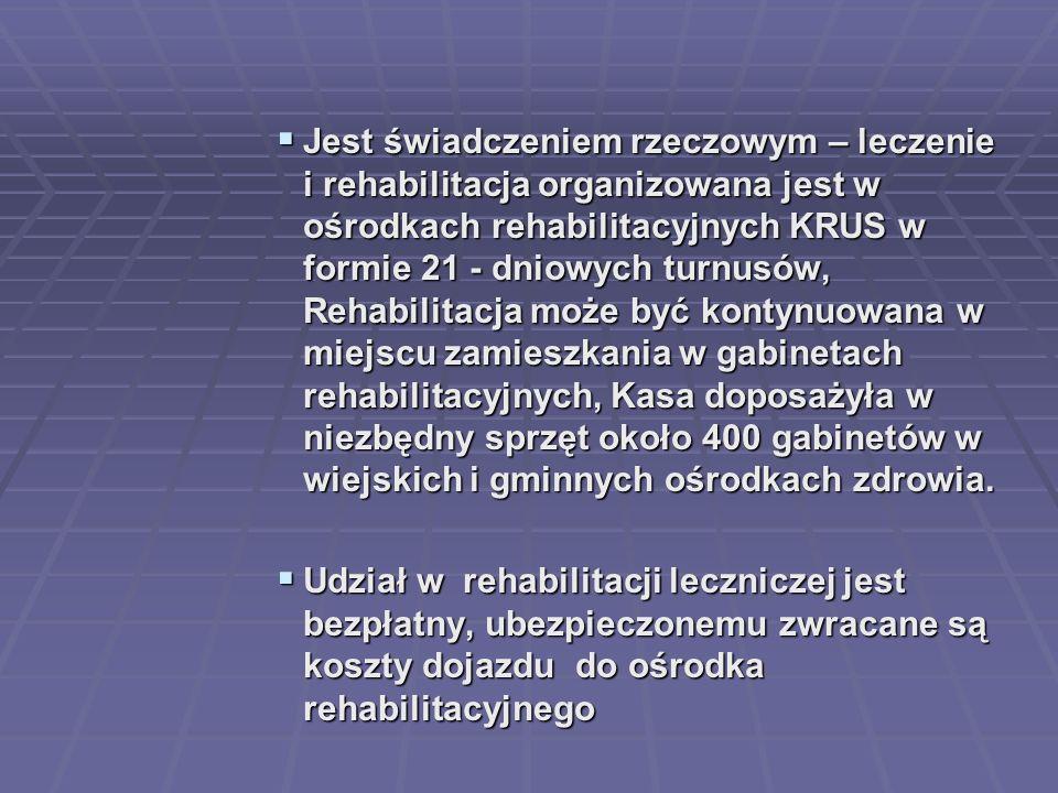 Jest świadczeniem rzeczowym – leczenie i rehabilitacja organizowana jest w ośrodkach rehabilitacyjnych KRUS w formie 21 - dniowych turnusów, Rehabilitacja może być kontynuowana w miejscu zamieszkania w gabinetach rehabilitacyjnych, Kasa doposażyła w niezbędny sprzęt około 400 gabinetów w wiejskich i gminnych ośrodkach zdrowia.