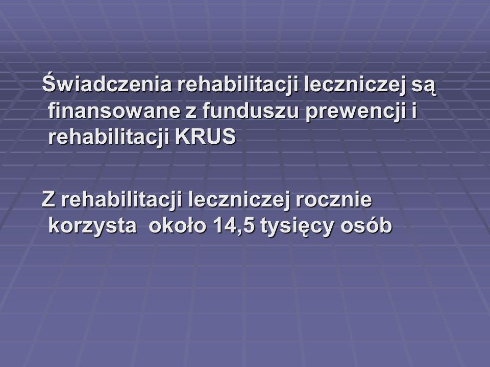Świadczenia rehabilitacji leczniczej są finansowane z funduszu prewencji i rehabilitacji KRUS