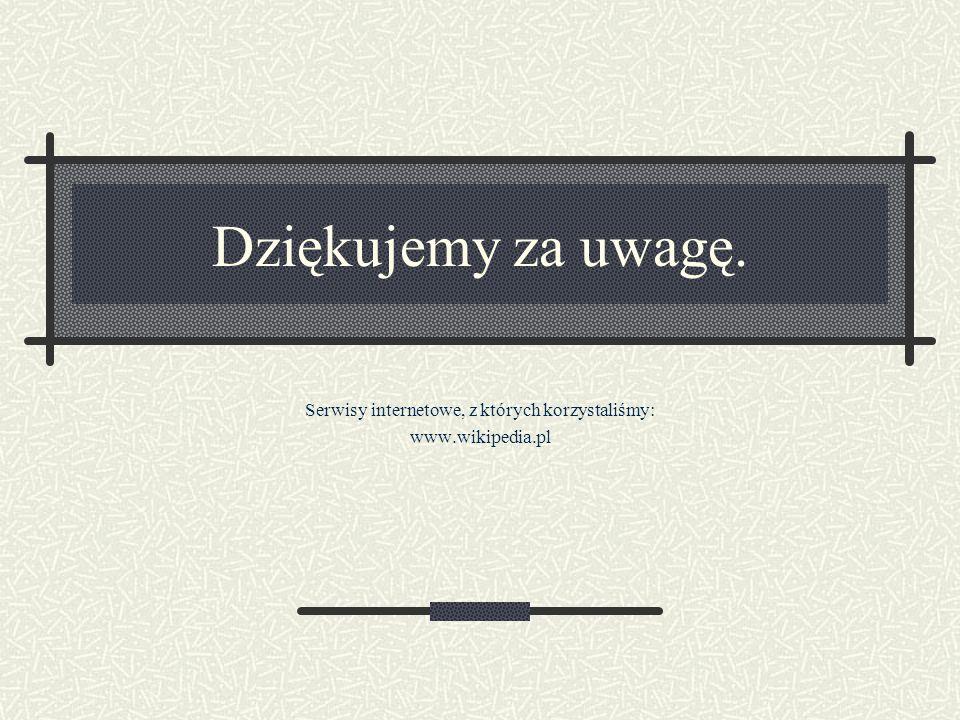 Serwisy internetowe, z których korzystaliśmy: www.wikipedia.pl