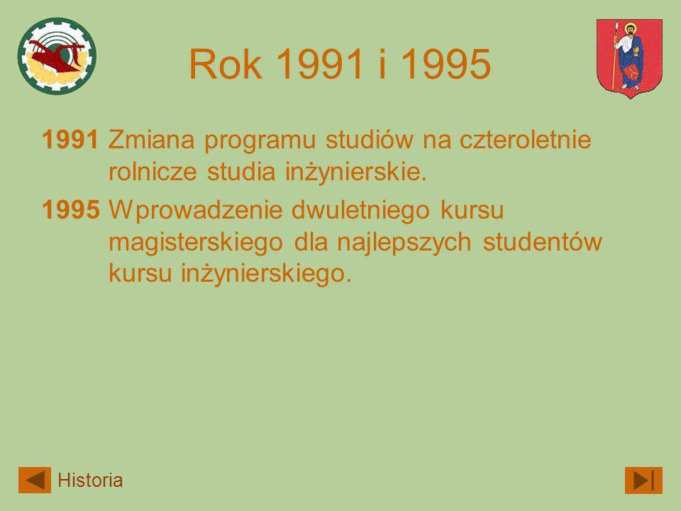 Rok 1991 i 1995 1991 Zmiana programu studiów na czteroletnie rolnicze studia inżynierskie.