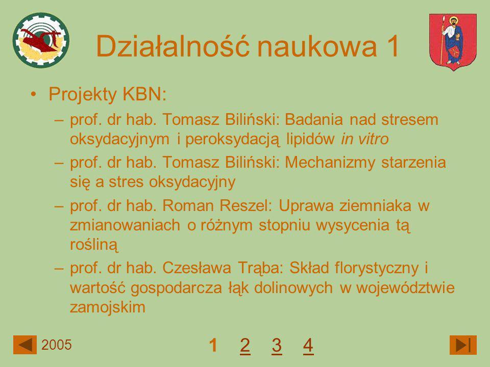 Działalność naukowa 1 Projekty KBN: 1 2 3 4