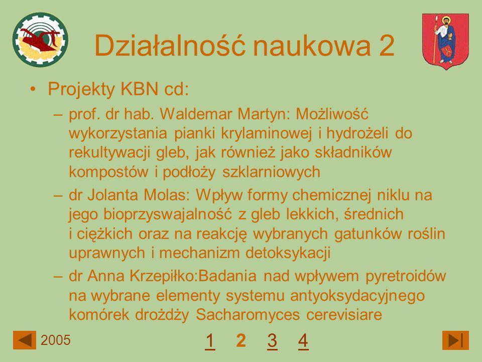 Działalność naukowa 2 Projekty KBN cd: 1 2 3 4