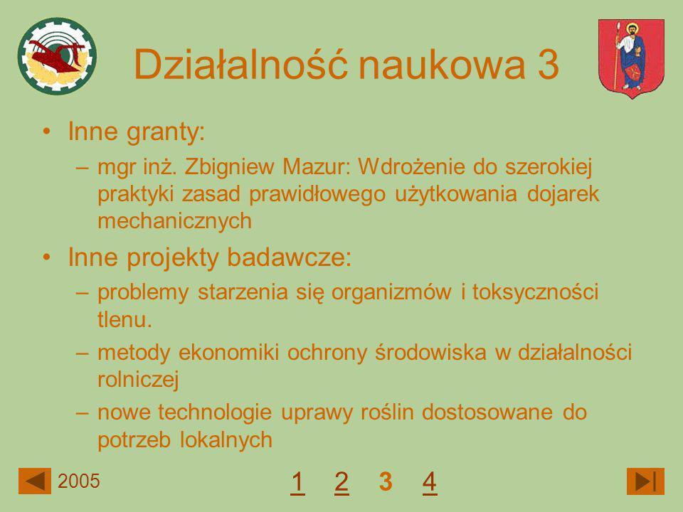 Działalność naukowa 3 Inne granty: Inne projekty badawcze: 1 2 3 4