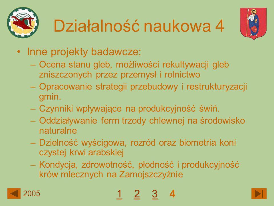 Działalność naukowa 4 Inne projekty badawcze: 1 2 3 4