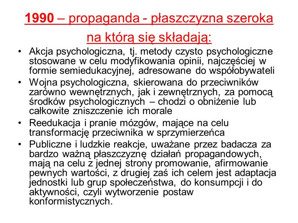 1990 – propaganda - płaszczyzna szeroka na którą się składają: