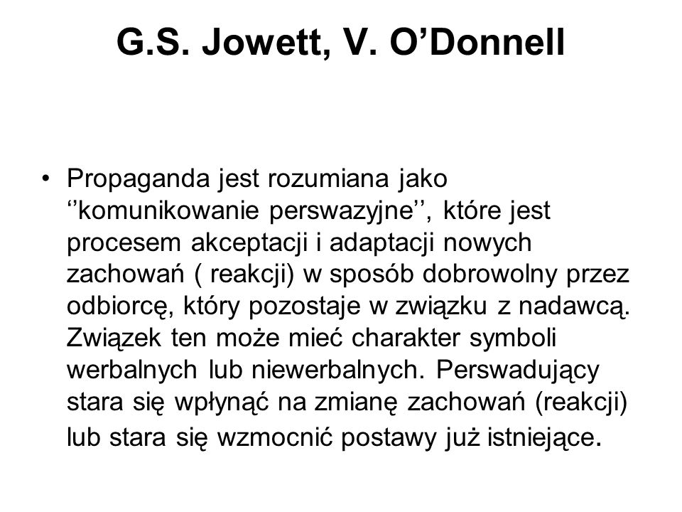G.S. Jowett, V. O'Donnell
