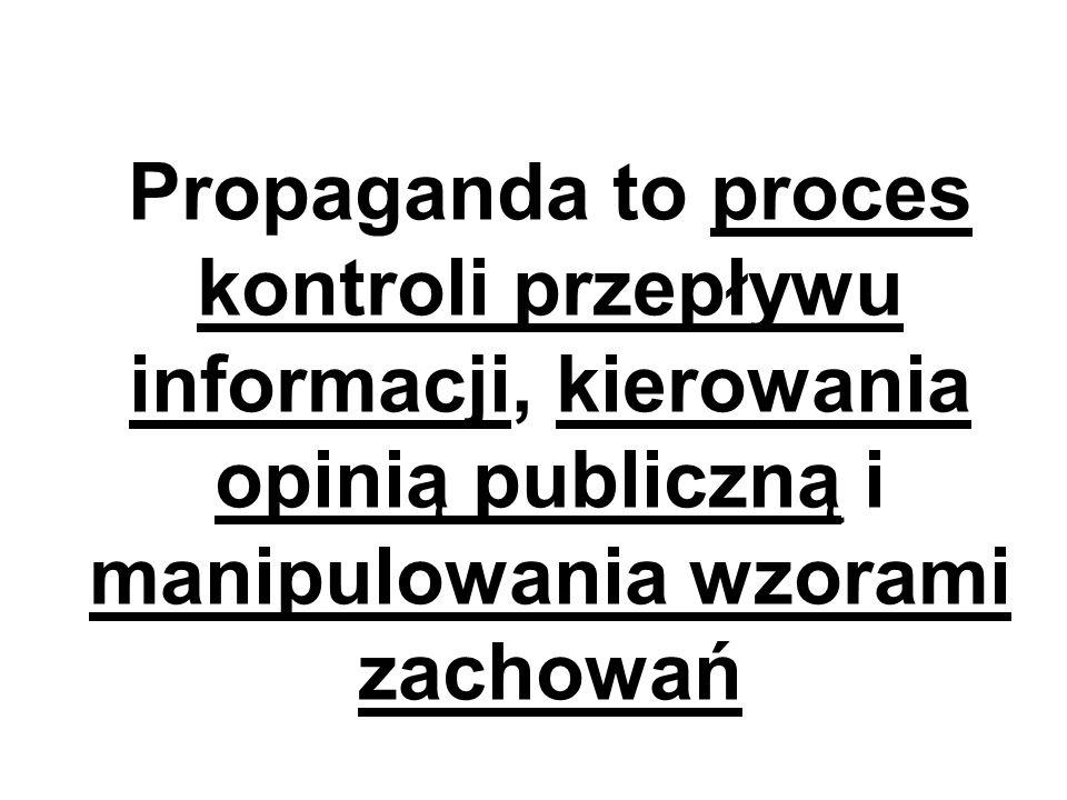 Propaganda to proces kontroli przepływu informacji, kierowania opinią publiczną i manipulowania wzorami zachowań
