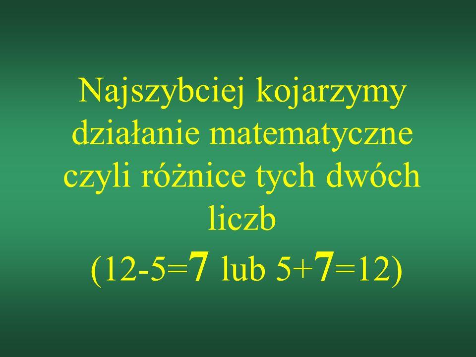 Najszybciej kojarzymy działanie matematyczne czyli różnice tych dwóch liczb (12-5=7 lub 5+7=12)