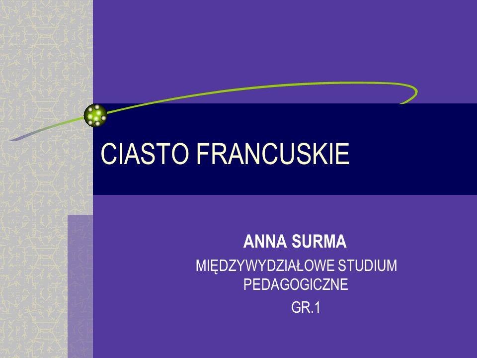 ANNA SURMA MIĘDZYWYDZIAŁOWE STUDIUM PEDAGOGICZNE GR.1