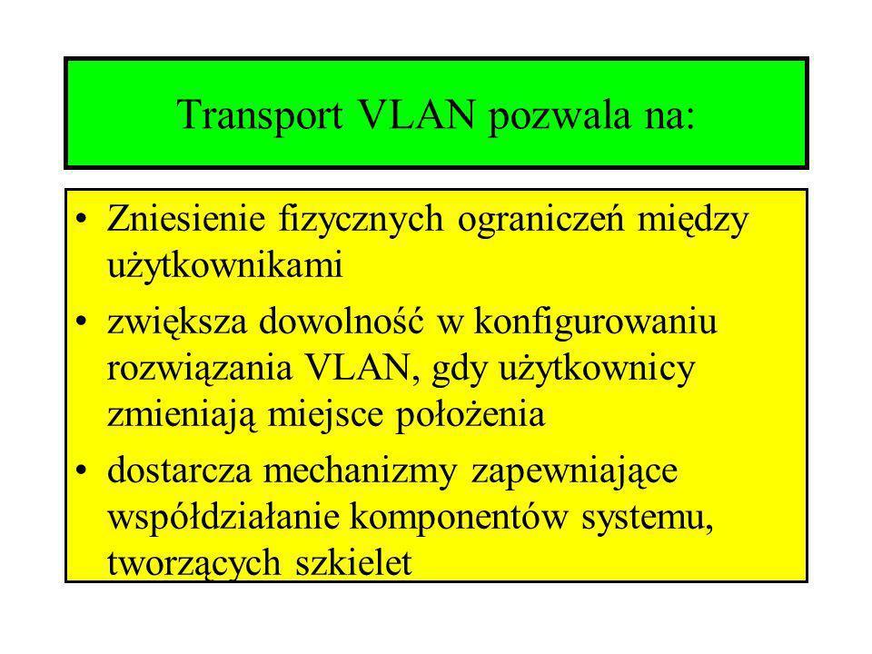 Transport VLAN pozwala na: