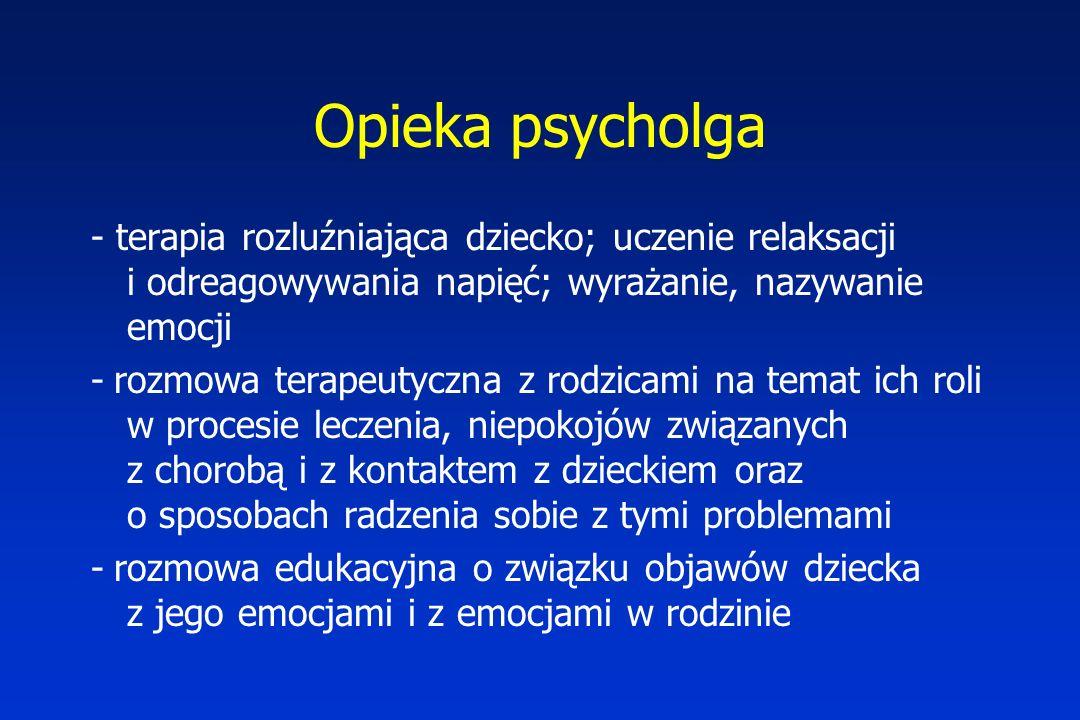 Opieka psycholga - terapia rozluźniająca dziecko; uczenie relaksacji i odreagowywania napięć; wyrażanie, nazywanie emocji.