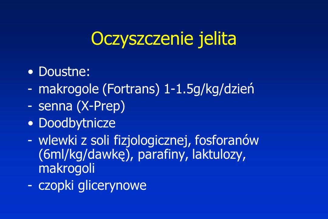 Oczyszczenie jelita Doustne: makrogole (Fortrans) 1-1.5g/kg/dzień