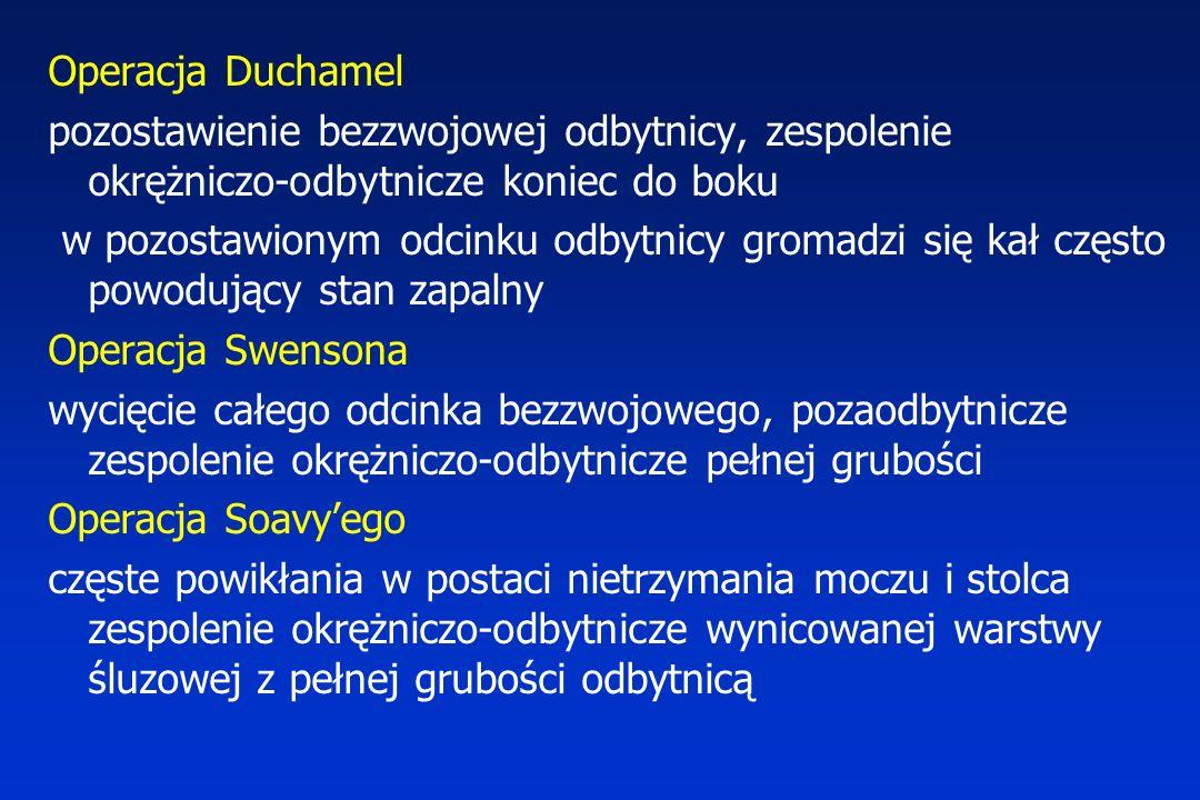 Operacja Duchamel pozostawienie bezzwojowej odbytnicy, zespolenie okrężniczo-odbytnicze koniec do boku.