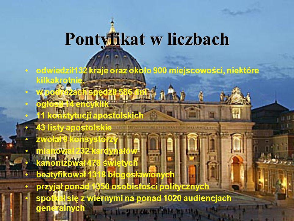 Pontyfikat w liczbach odwiedził132 kraje oraz około 900 miejscowości, niektóre kilkakrotnie. w podróżach spędził 586 dni.