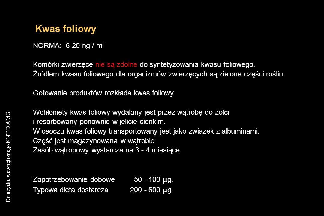 Kwas foliowy NORMA: 6-20 ng / ml