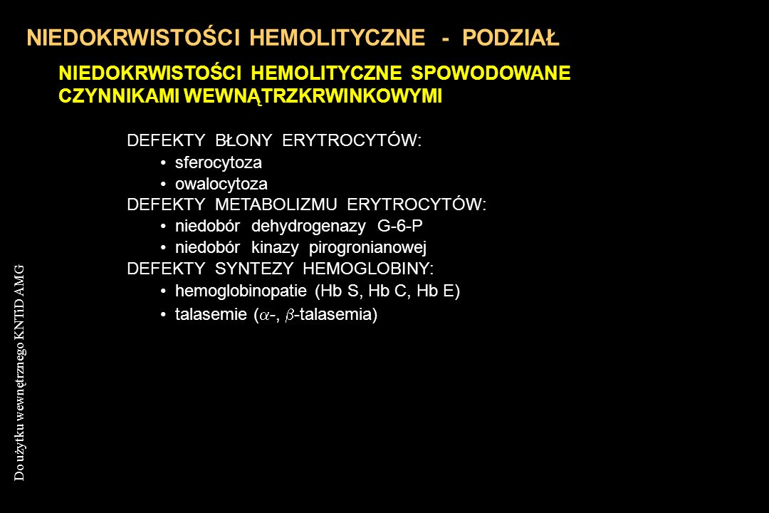 NIEDOKRWISTOŚCI HEMOLITYCZNE - PODZIAŁ