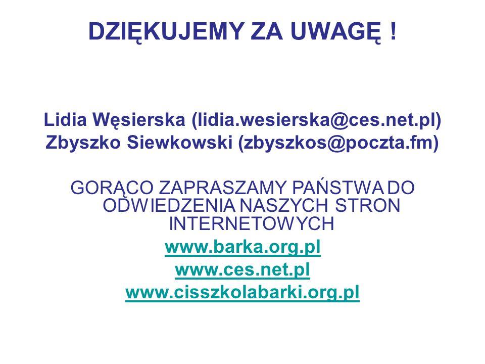 DZIĘKUJEMY ZA UWAGĘ ! Lidia Węsierska (lidia.wesierska@ces.net.pl)
