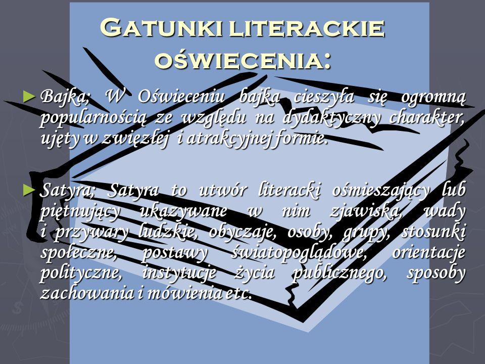 Gatunki literackie oświecenia: