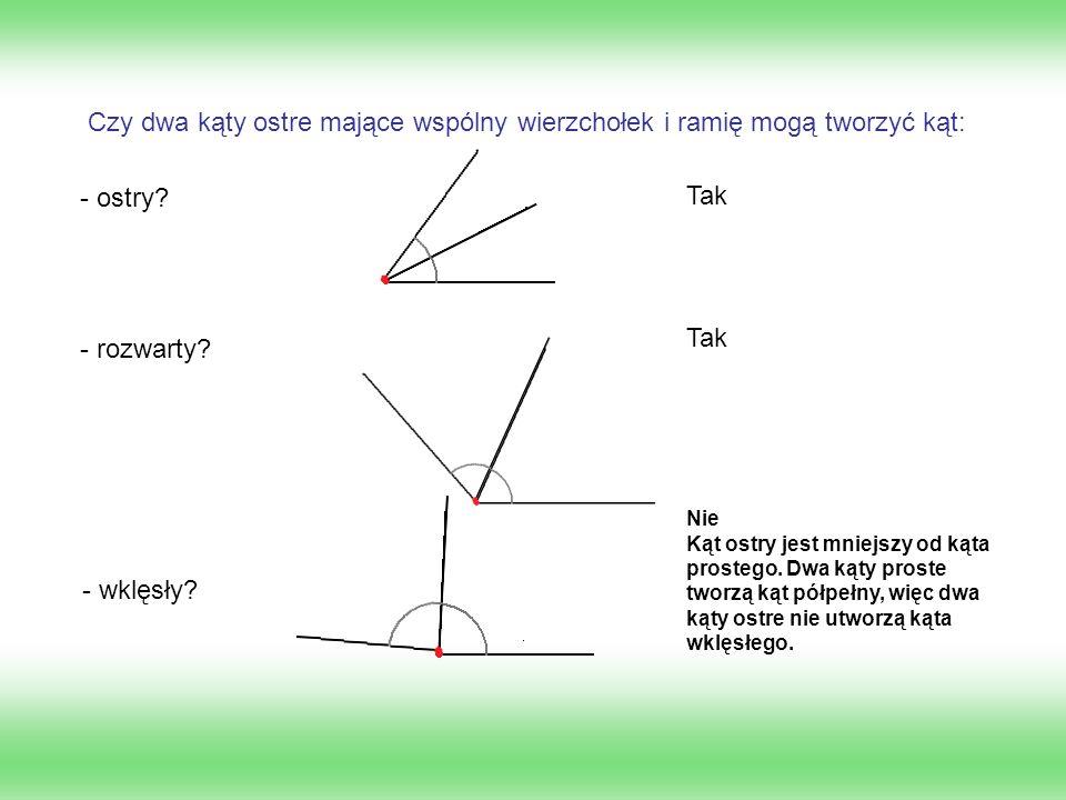 Czy dwa kąty ostre mające wspólny wierzchołek i ramię mogą tworzyć kąt: