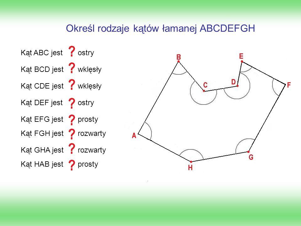 Określ rodzaje kątów łamanej ABCDEFGH