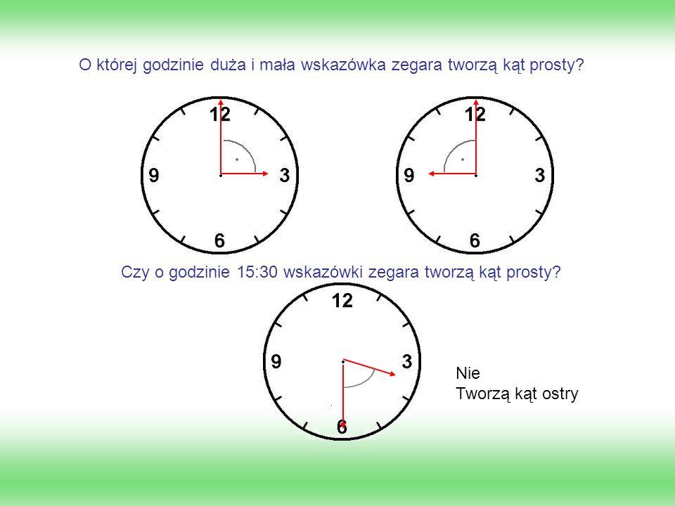 O której godzinie duża i mała wskazówka zegara tworzą kąt prosty