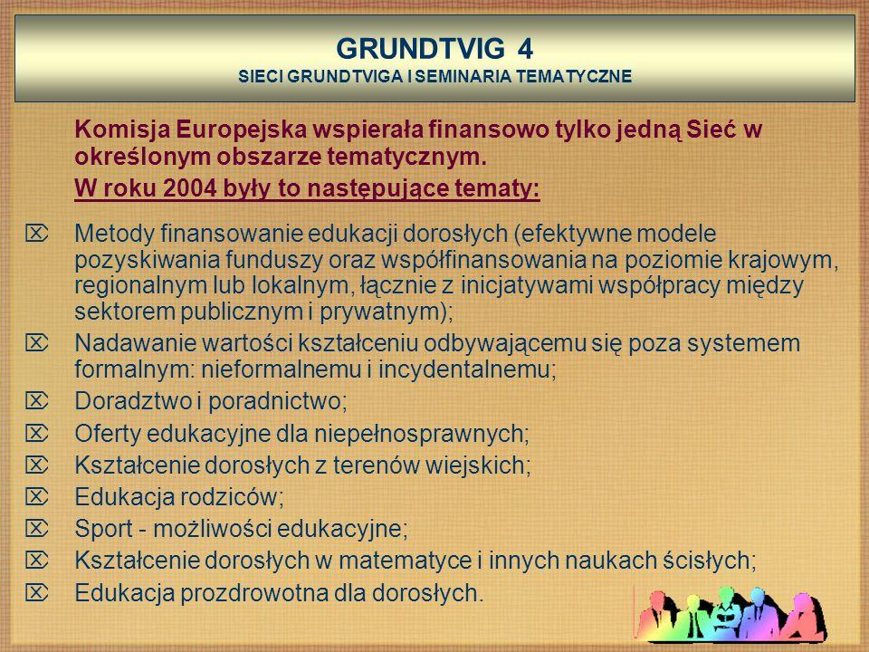 GRUNDTVIG 4 SIECI GRUNDTVIGA I SEMINARIA TEMATYCZNE