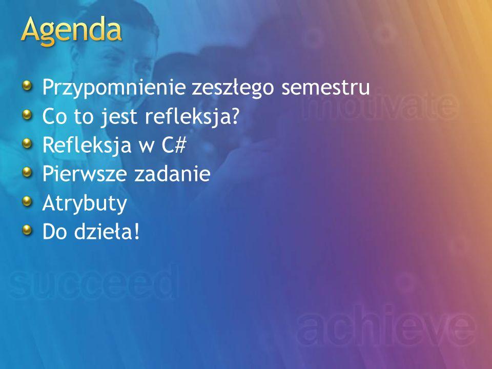 Agenda Przypomnienie zeszłego semestru Co to jest refleksja