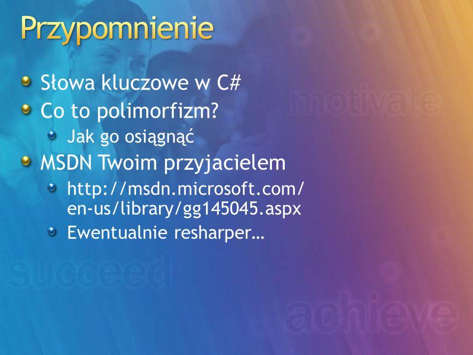 Przypomnienie Słowa kluczowe w C# Co to polimorfizm