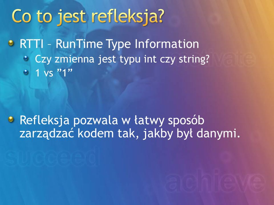 Co to jest refleksja RTTI – RunTime Type Information
