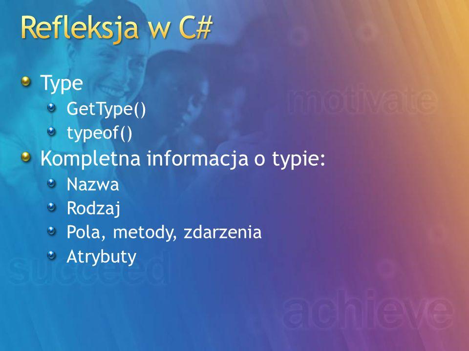 Refleksja w C# Type Kompletna informacja o typie: GetType() typeof()