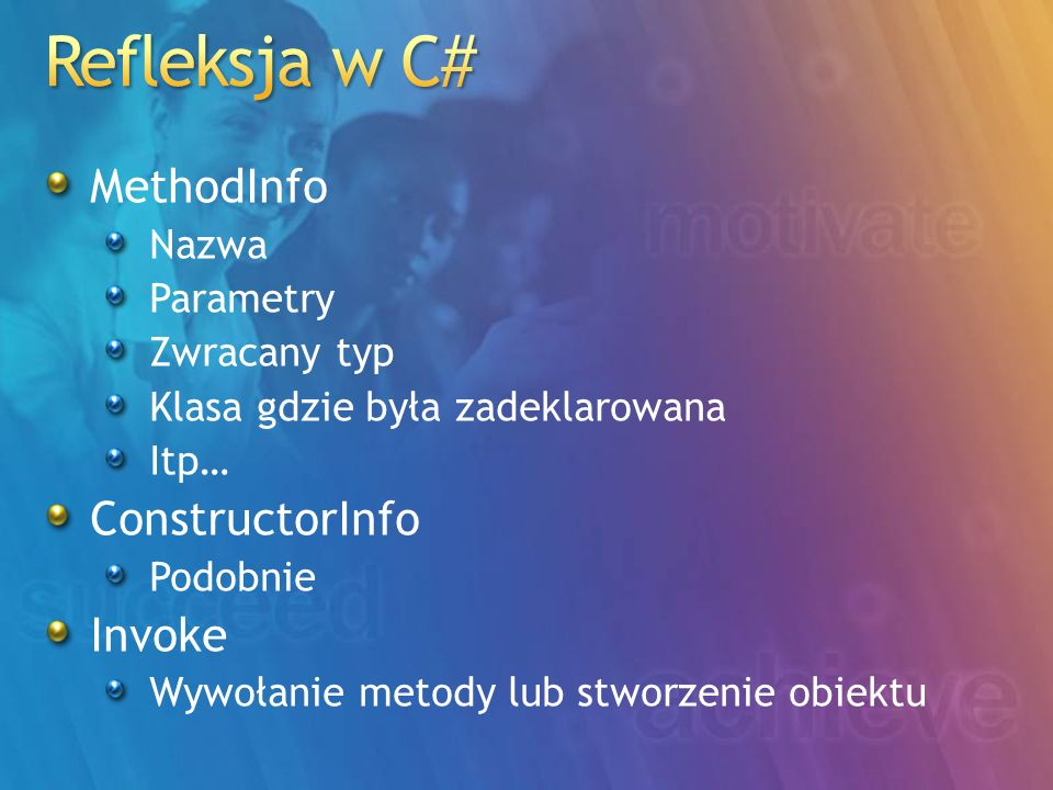 Refleksja w C# MethodInfo ConstructorInfo Invoke Nazwa Parametry