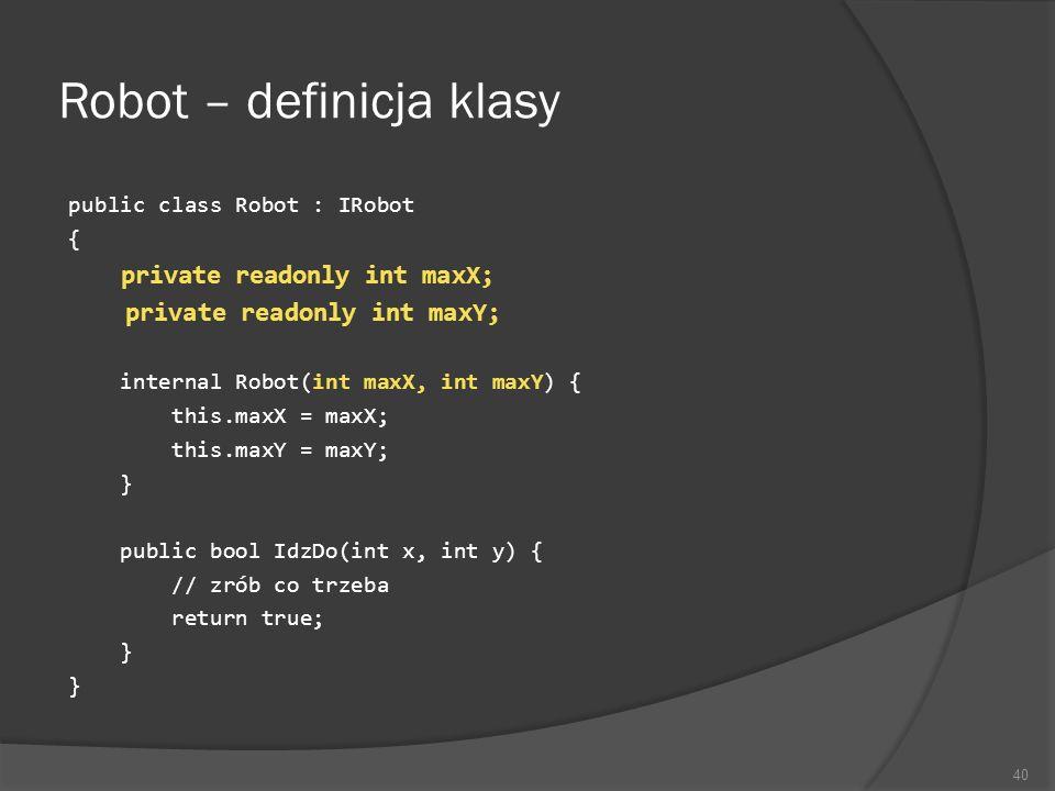 Robot – definicja klasy