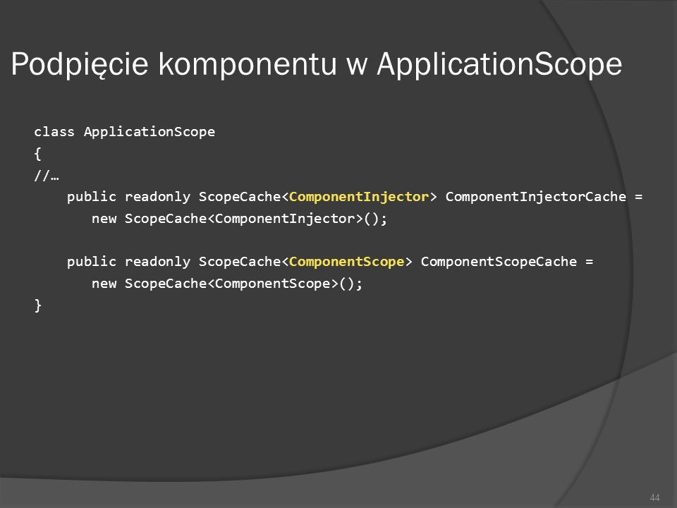 Podpięcie komponentu w ApplicationScope