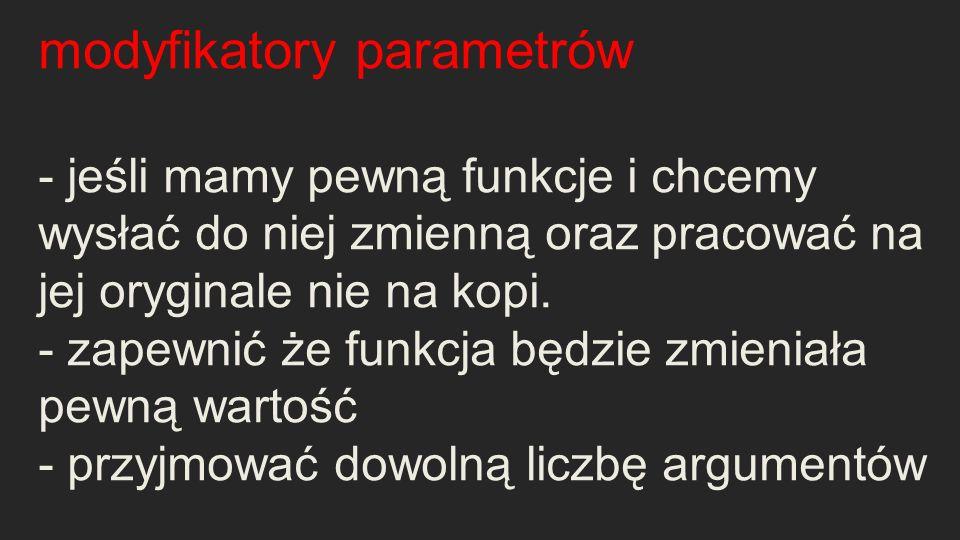 modyfikatory parametrów