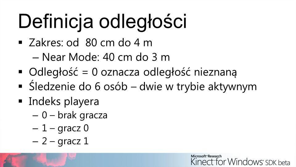 Definicja odległości Zakres: od 80 cm do 4 m Near Mode: 40 cm do 3 m