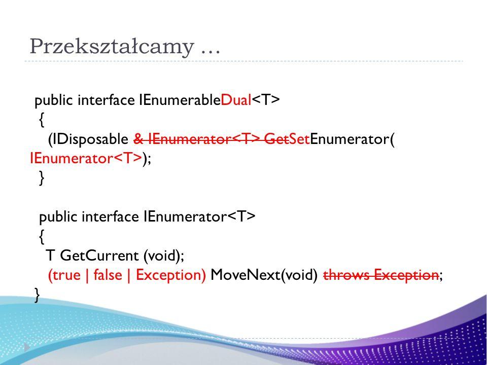 Przekształcamy … public interface IEnumerableDual<T> {